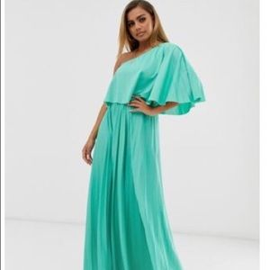 Pleated off the shoulder formal dress size 6p